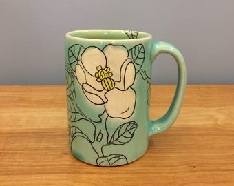 Handmade Mug with Magnolia Drawings. In Aqua & Lime. MA106