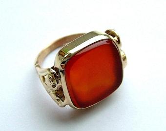 Mens Large Carnelian Gold Ring * Large Carnelian Gold Ring * Carnelian Gold Ring * Agate Gold Ring * Mans Carnelian Gold Ring*Carnelian Ring