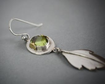 "Sterling Silver and Peridot earrings with brass ""green leaf"""