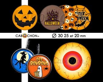 Happy Halloween ll • 45 Images Digitales RONDES 30 25 20 mm sorciere chauve souris citrouille fantome toile araignee oeil bonbon