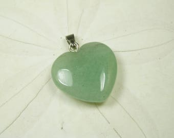 Natural Jade Heart Pendant/ Green Jade Heart Necklace/ Love