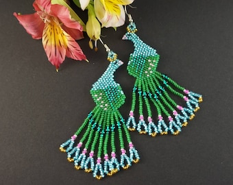 Dangle earrings Peacock feather earrings Green bird earrings Peacock wedding Light blue Dangling earrings Statement earrings Gift|For|Girl