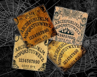 Ouija Board Halloween Decor Coaster Set, Hostess Gift, Slate Drink Coaster Set of Four, Holiday Coaster Set, Birthday Present Idea