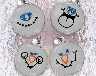 Snow People Glitter Ornament Set of Four, Shatter Resistant Glass, Snowman Glittered Tree Set, Snow Face Ornaments Set, Winter Holiday