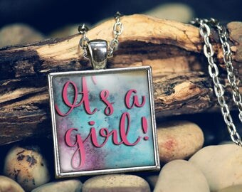 It's a Girl Gender Reveal Gift, Pregnancy Birth Announcement, Keepsake Jewelry Gift, Baby Shower Present, Gifts for Mom Daughter Grandmother