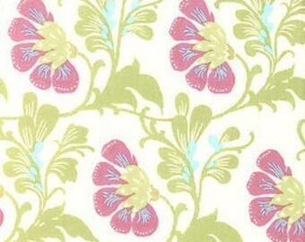 Half Yard - Sweet Jasmine, Natural, Daisy Chain,  Amy Butler Fabric, quilting cotton, Orchid, Green, Aqua, White, Fabric Sale, Destash