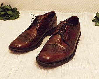Vintage Brown Leather Full Brogue Wingtips by Freeman Size 10