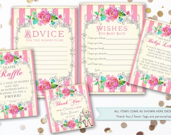 Printable Lamb Baby Shower Theme Wishes for Baby, Favor Tags, Bring a Book Insert, Diaper Raffle Cards, Advice for the Mommy to Be Package