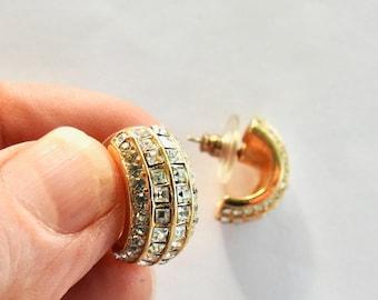 Rhinestone Gold Tone Pierced Earrings