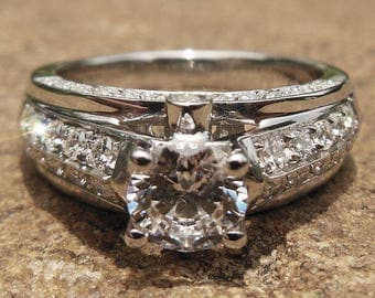 Free Shipping Solid 14K Rose Gold Ring Round 5.75MM Semi Mount Ring / Wedding & Engagement Ring