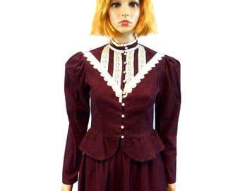 GUNNE SAX Corduroy Suit | Vintage Riding Jacket & High Waist Skirt | Vtg Prairie Midi Lace Festival Boho Clothing | 70's Jessica's Gunnies