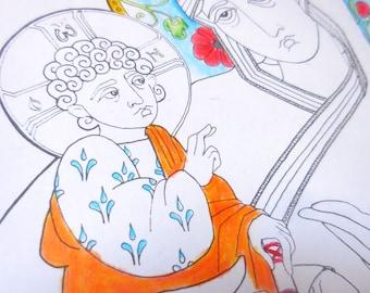 Three-Handed Virgin folk icon coloring page, DIGITAL file, downloadable original art