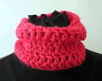 Collar Scarf (small adult, close fit) - reflective yarn - crochet, cosy, bright, warm, useful!