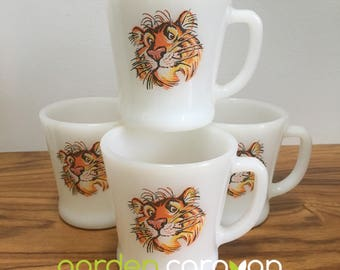 Vintage Milkglass Esso Tiger Coffee Mugs