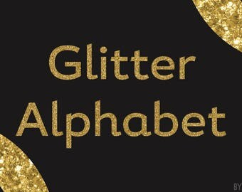 Gold Glitter Alphabet Clipart 81 Images PNG Files Letters Numbers Special Characters Commercial Use Graphics Digital Clip Art