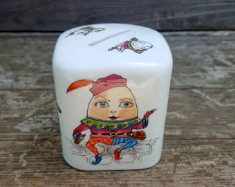 Vintage Mother Goose Nursery Rhymes Bank, Humpty Dumpty, Mary Had a Little Lamb, Cat and Fiddle, Child's Ceramic Collectble Bank, Shafford