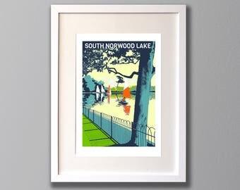 South Norwood Lake, Limited Edition A3 Screen Print, Crystal Palace, London, UK -  (UN)FRAMED Art