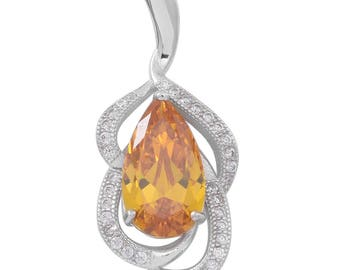Simulated Yellow and White Diamond Sterling Silver Pendant without Chain TGW 5.43 cts.