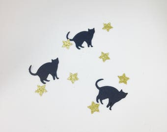 Black Cat Confetti Star Mix - Halloween Party Table Decoration - Cats