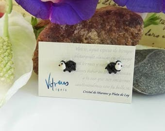 Black Sheep Earrings made of Murano Glass and Sterling Silver