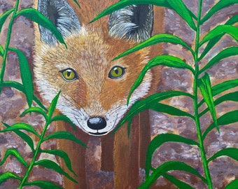 Fox Painting, Fox Art, Wildlife Painting, Original, Etsy Gift, 12x12 in, MelidasArt