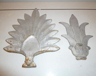 Set of two Art Deco heavy cast iron wall plaque decoration silver color circa 1920s