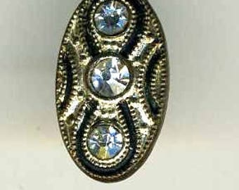 Button Vintage Rhinestone, Oval, Backmarked