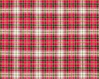 Christmas Fabric Red and Green Plaid Holiday Fabric by the Yard or Half Yard Osnaburg Cotton Fabric Christmas Material Home Decor Crafts