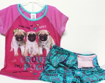 Insulin pump pj set / girls size 7-8 / Group pug