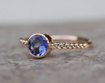 Tanzanite Engagement Ring, Blue Gemstone Ring, Unique Engagement, Solitaire Ring, Fine Jewelry
