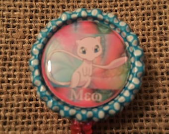 Pokemon Mew Inspired Bottlecap Retractable ID Badge Holder Name Tag Reel