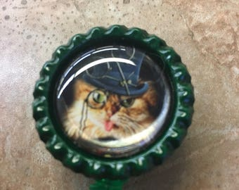 Steampunk Cat Inspired Bottlecap Retractable ID Badge Holder Name Tag Reel