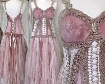 Wedding dress pink princes, Boho wedding dress rose,wedding dress tattered tulle,bridal gown godess gown,wedding dress open back,rawrags