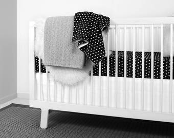 Triangle Bedding Set in Black and White   Crib bedding   monochrome nursery   modern baby room   baby bedding   black and white nursery