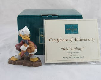 "WDCC ""Bah Humbug"" Ornament Scrooge McDuck from Mickey's Christmas Carol Box COA"