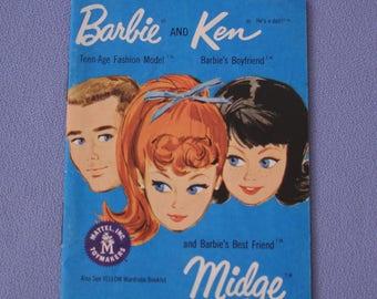 Vintage Barbie, Ken, and Midge Blue Fashion Booklet, Near Mint