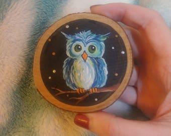 Handpainted Owl wood magnet