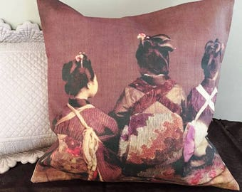 Cushion cover with japan vintage photo