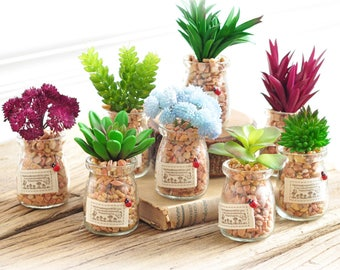 5 pcs Little Artificial Flowers & Plants in Glass Bottles - Wedding, Party, Banquets Table Decors, Gift Favors