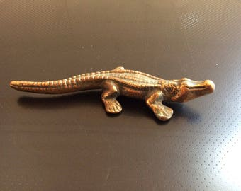 Vintage Brass Crocodile Alligator Figure