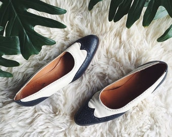 Summer SALE Ralph Lauren Heels 7 1/2 Women's Wingtip Shoes, Navy + Cream Low Heel Saddle Shoes, Spectator Shoes, Oxford Shoes, Symphony Flat