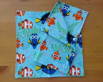 """Finding Dory Napkin Set, """"All Smiles"""" Fabric featuring Dory and Nemo, Set of Two, Lunchbox, Picnic, Everyday Cloth, Double Sided Napkins"""