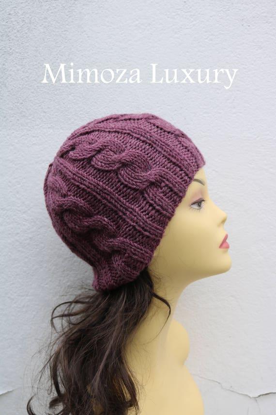 Dark Dusky Pink women's Beanie hat, Hand Knitted Hat in mauve rose beanie hat cap, knitted men's, women's beanie hat, winter beanie, ski hat