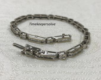Beautiful Vintage 10k White Gold 1ct Diamond Elegant Bracelet
