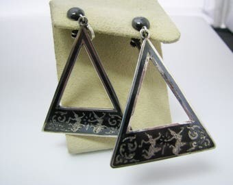 Beautiful Triangle Shaped Siam Sterling Niello Black Enamel Earrings