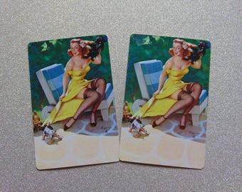 Vintage girlie pinup girl Elvgren single swap playing card