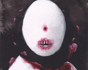 "Original painting (3x4"") eggchild"