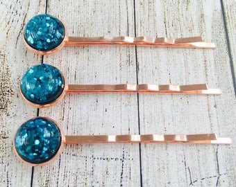 Blue Glitter Rose Gold Colour Bobby Pins• Blue Glittery Hair Grips• Handmade Hair Slides• Prom Hair• PACK of 3•  Made in Australia