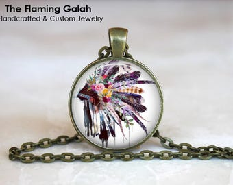 FEATHER HEADDRESS Pendant • Native American Chief Headdress • Boho Feathers • BoHo Headdress • Gift Under 20 • Made in Australia  (P1506)