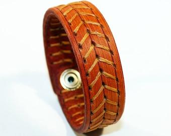 Orange Leather Cuff Bracelet! Leather bracelet!Nice gift for women!Nice gift for men!Orange wrist cuff!Bracelet wof women!Bracelet for men.